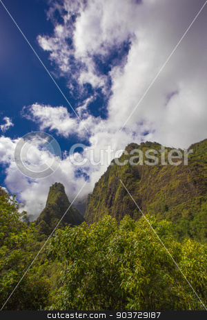 Iao Needle in Rain Forest stock photo, Geographic Needle in the Iao Valley Rainforest by Scott Griessel