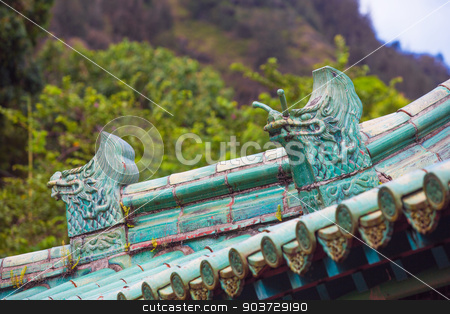 Chinese Rooftop Dragons stock photo, Two Chinese Rooftop Dragon Architectural Details by Scott Griessel