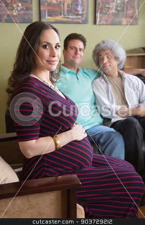 Surrogate Mother with Gay Couple stock photo, Confident surrogate mother with male homosexual parents by Scott Griessel