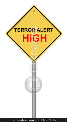 Terror Alert High Warning Sign stock photo, Yellow warning sign with the text Terror Alert High. by Henrik Lehnerer