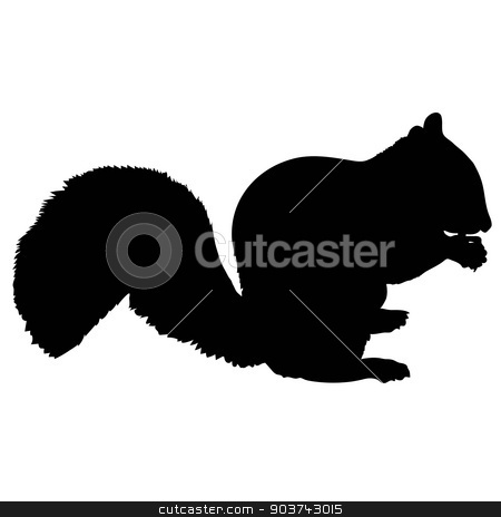Print stock vector clipart, A silhouette of a squirrel eating a nut by Maria Bell