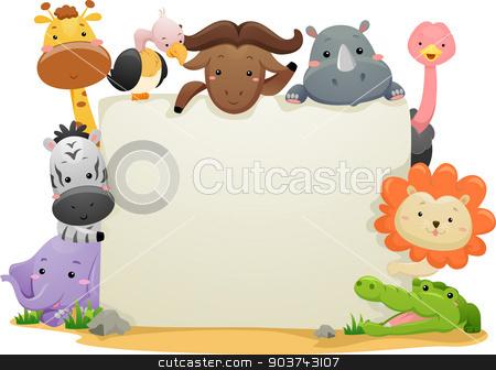 Safari Animals Banner stock photo, Banner Illustration Featuring Cute Safari Animals by BNP