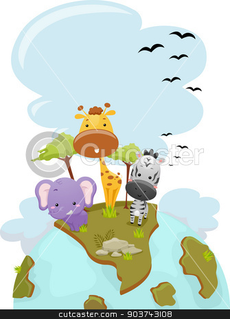 Safari Animals Earth stock photo, Illustration Featuring Cute Safari Animals Standing on Top of the Earth by BNP