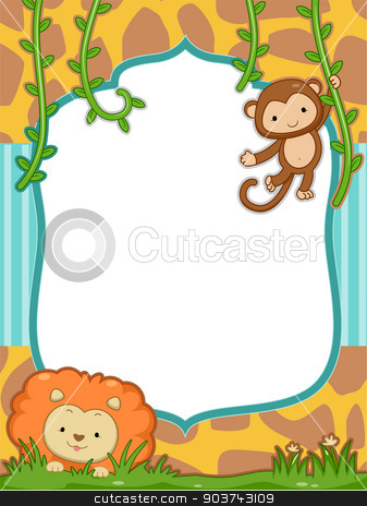 Safari Frame stock photo, Frame Illustration Featuring a Cute Lion and a Monkey by BNP