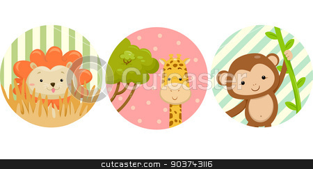 Safari Animals Stickers stock photo, Illustration Featuring Ready to Print Stickers of Safari Animals by BNP