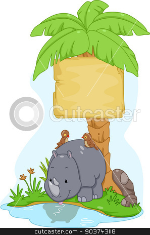 Rhinoceros Sign Board stock photo, Board Illustration Featuring a Cute Rhinoceros with Birds Resting on Its Back by BNP