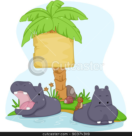 Hippopotamus Sign Board stock photo, Board Illustration Featuring a Pair of Hippopotamuses with Birds Resting on Their Backs by BNP