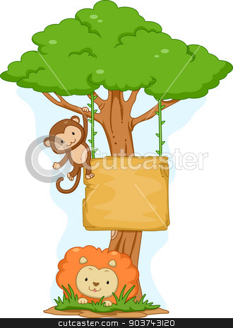 Monkey and Lion Hanging Board stock photo, Board lllustration Featuring a Lion Lying on the Ground and a Monkey Swinging from a Tree by BNP