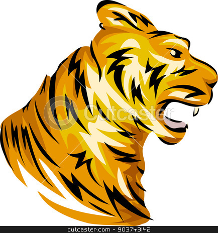 Tiger Mascot stock photo, Mascot Illustration Featuring a Tiger with Its Fangs Bared by BNP