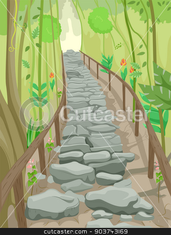 Forest Stairs Trail stock photo, Illustration of a Flight of Stone Steps That Serve as a Trail in the Forest by BNP
