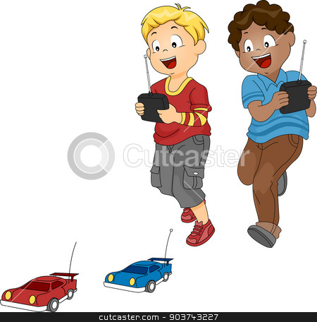 Car Racing Boys stock photo, Illustration of a Pair of Boys Racing with Toy Cars by BNP