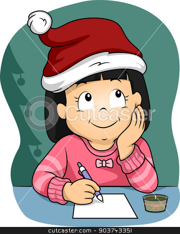 Christmas Wish List stock photo, Illustration of a Little Girl  Wearing a Christmas Hat Writing Her Christmas Wish List by BNP