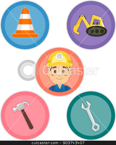 Construction Tools stock photo, Illustration Featuring Different Construction Tools and Equipment by BNP