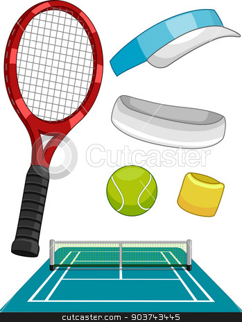 Lawn Tennis Items stock photo, Illustration Featuring Different Lawn Tennis Items by BNP