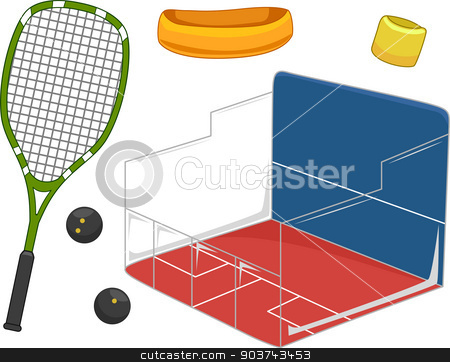 Squash Equipment stock photo, Illustration Featuring Equipment Used for Playing Squash by BNP