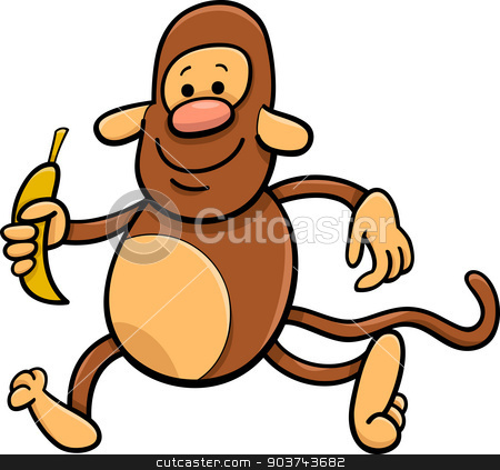 monkey with banana cartoon illustration stock vector clipart, Cartoon Illustration of Funny Monkey with Banana by Igor Zakowski