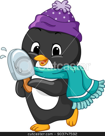 Popsicle Penguin stock photo, Illustration of a Penguin Holding a Popsicle by BNP