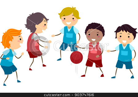 Basketball Kids stock photo, Illustration Featuring a Group of Boys Playing Basketball by BNP