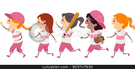 Baseball Walk stock photo, Illustration Featuring a Group of Girls Dressed in Basebal Gear Walking Across the Street by BNP
