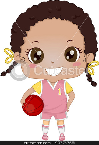 Basketball Girl stock photo, Illustration of an African-American Girl Wearing Basketball Uniform by BNP