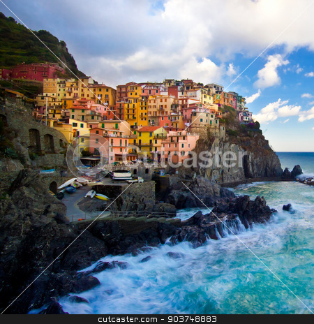 Manarola fisherman village in Cinque Terre, Italy stock photo, Manarola fisherman village in a dramatic wind storm. Manarola is one of five famous villages of Cinque Terre, suspended between sea and land on sheer cliffs upon the wild waves. by kasto
