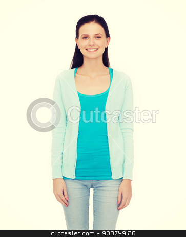 smiling teenage girl in casual clothes stock photo, happiness and people concept - smiling teenage girl in casual clothes by Syda Productions