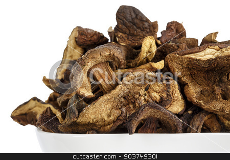 Wild and dried mushrooms stock photo, Shown up close serving of wild and dried mushrooms by marekusz