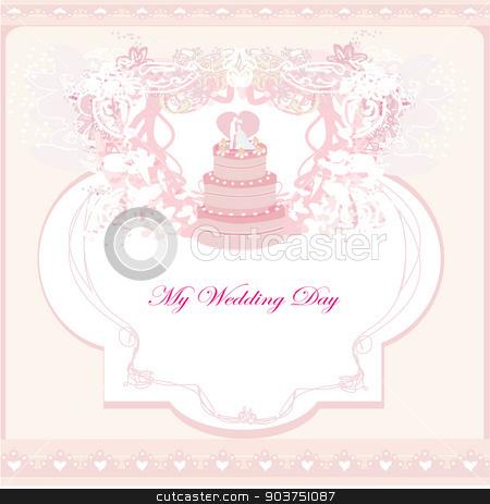 wedding cake card design  stock vector clipart, wedding cake card design  by Jacky Brown