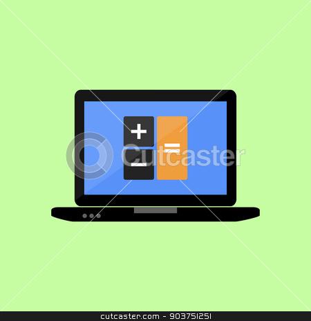 Latop with calculator icon stock vector clipart, Laptop with calculator icon in flat style by Irina Felzina