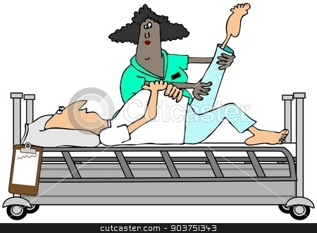 Man in rehab stock photo, This illustration depicts a female nurse manipulating the leg of a male patient in a hospital bed. by Dennis Cox