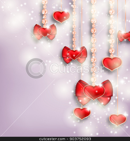 Glowing background with hanging hearts for Valentine Day, copy s stock vector clipart, Illustration glowing background with hanging hearts for Valentine Day, copy space for your text - vector by -=Mad Dog=-