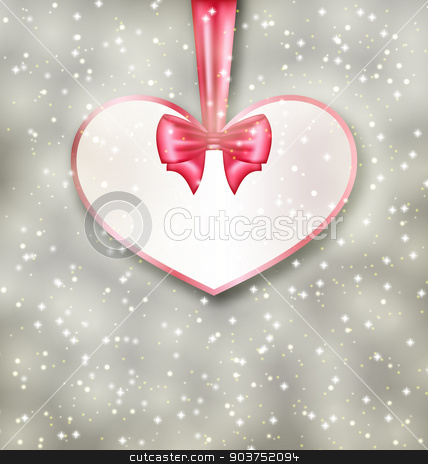 Greeting paper card made of heart shape Valentine Day stock vector clipart, Illustration greeting paper card made of heart shape Valentine Day - vector by -=Mad Dog=-