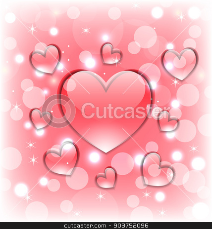 Shimmering background with glassy hearts for Valentine Day stock vector clipart, Illustration shimmering background with glassy hearts for Valentine Day - vector by -=Mad Dog=-