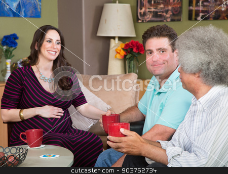 Surrogate Mom with Male Couple stock photo, Happy male friends having coffee with surrogate mother by Scott Griessel