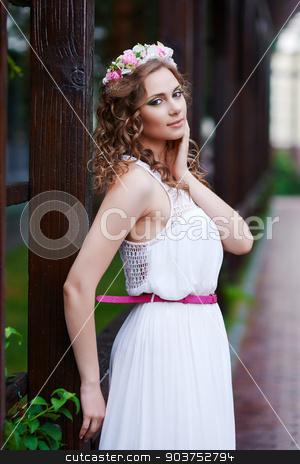 Attractive beautiful woman in greek style stock photo, Portrait of happy attractive beautiful woman in greek style by MaStudio