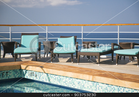 Cruise Ship Lounge Chairs And Pool Abstract stock photo, Cruise Ship, Ocean, Lounge Chairs And Swimming Pool Abstract. by Andy Dean