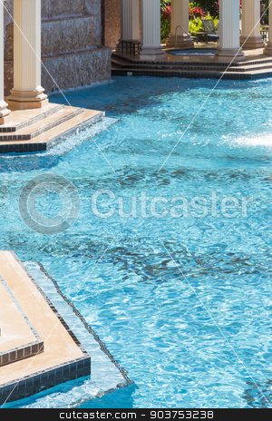 Exotic Luxury Swimming Pool and Hot Tub Abstract stock photo, Exotic Luxury Swimming Pool Water, Hot Tub and Architecture Abstract. by Andy Dean