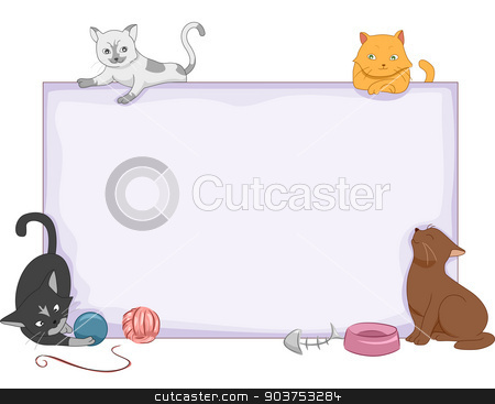 Cat Board stock photo, Illustration Featuring a Blank Board Surrounded by a Group of Cats by BNP