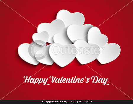 Valentines Day Heart Balloons on Red Background stock vector clipart, Vector - Valentines Day Heart Balloons on Red Background by Augusto Cabral Graphiste Rennes