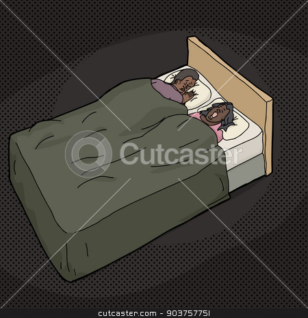 Frustrated Man in Bed with Snoring Wife stock vector clipart, Frustrated Black man trying to sleep in bed with snoring spouse by Eric Basir