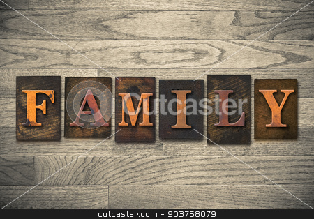 Family Concept Wooden Letterpress Type stock photo, The word