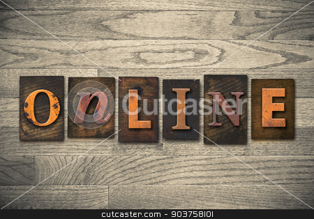 Online Concept Wooden Letterpress Type stock photo, The word