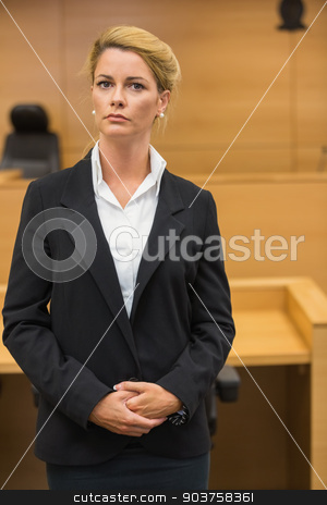 Serious lawyer looking at camera stock photo, Serious lawyer looking at camera in the court room by Wavebreak Media