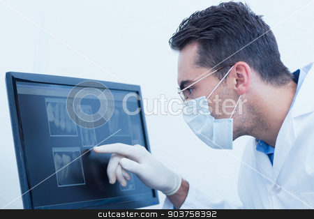 Dentist looking at x-ray on computer stock photo, Concentrated male dentist looking at x-ray on computer by Wavebreak Media