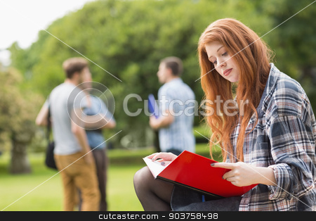 Pretty student studying outside on campus stock photo, Pretty student studying outside on campus at the university by Wavebreak Media