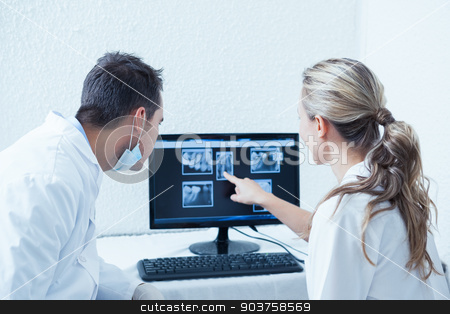 Dentists looking at x-ray on computer stock photo, Two concentrated dentists looking at x-ray on computer by Wavebreak Media