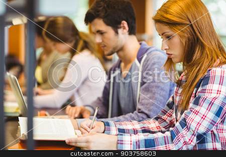 Four focused classmates working together stock photo, Four focused classmates working together in library by Wavebreak Media