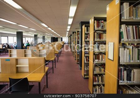 Volumes of books on bookshelf in library stock photo, Volumes of books on bookshelf in library at the university by Wavebreak Media