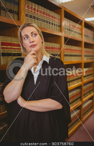 Serious lawyer thinking with hand on chin stock photo, Serious lawyer thinking with hand on chin in library by Wavebreak Media