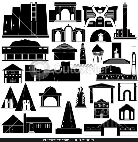 Architecture Africa-2 stock vector clipart, Contour collection of buildings and structures. Illustration on white background. by Sergey Skryl